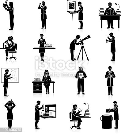 Scientists doctors and teacher characters making scientific experiments black set isolated vector illustration