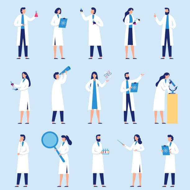 ilustrações de stock, clip art, desenhos animados e ícones de scientists people. science lab worker, chemical researchers and scientist professor character flat vector set - scientist