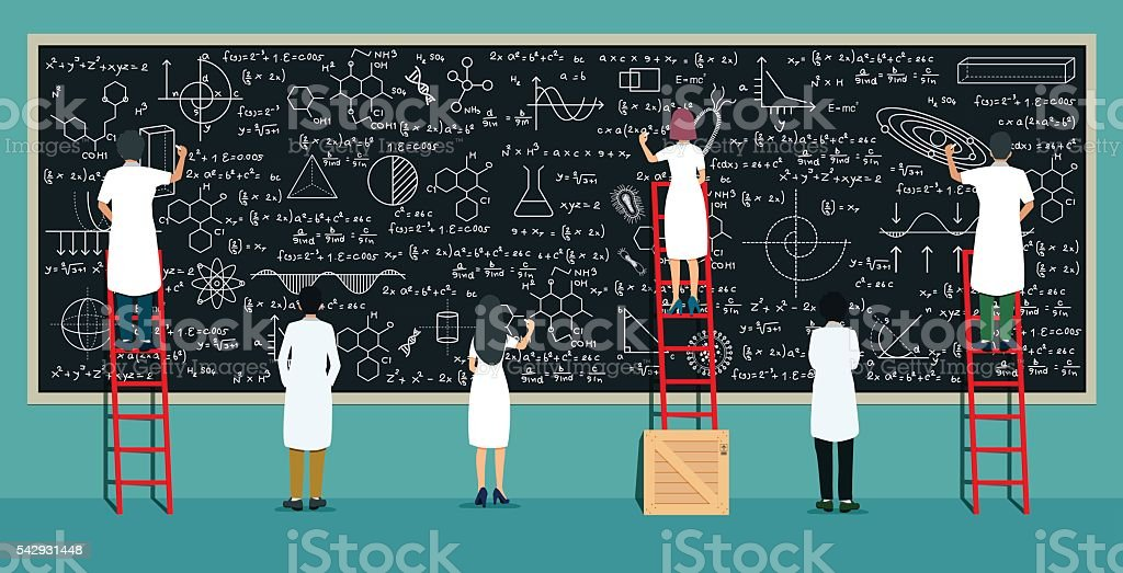 Scientists writing board vector art illustration