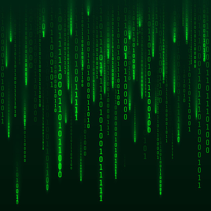 Scifi Background Binary Computer Code Green Digital Numbers Matrix Of Binary Numbers Futuristic Hacker Abstraction Backdrop Random Numbers Falling On The Dark Background Vector Stock Illustration Download Image Now Istock
