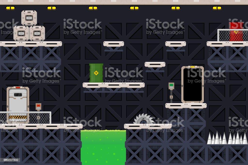 Scifi Factory Platformer Game Tileset Stock Illustration
