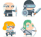 Sci-fi Fantasy Techno Knight Cybernetic Technomage Programmer Engineer RPG Game Character Vector Icons Set Vector Illustration