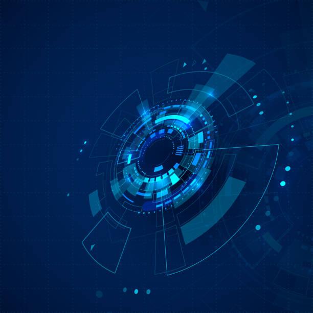 sci-fi futuristische kulisse. technologiehintergrund mit hud-elementen. abstrakte cyberspace-hintergrund. vektor-illustration - dashboard, hintergrund, hell stock-grafiken, -clipart, -cartoons und -symbole