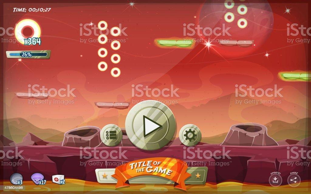 Scifi Platform Game User Interface For Tablet vector art illustration