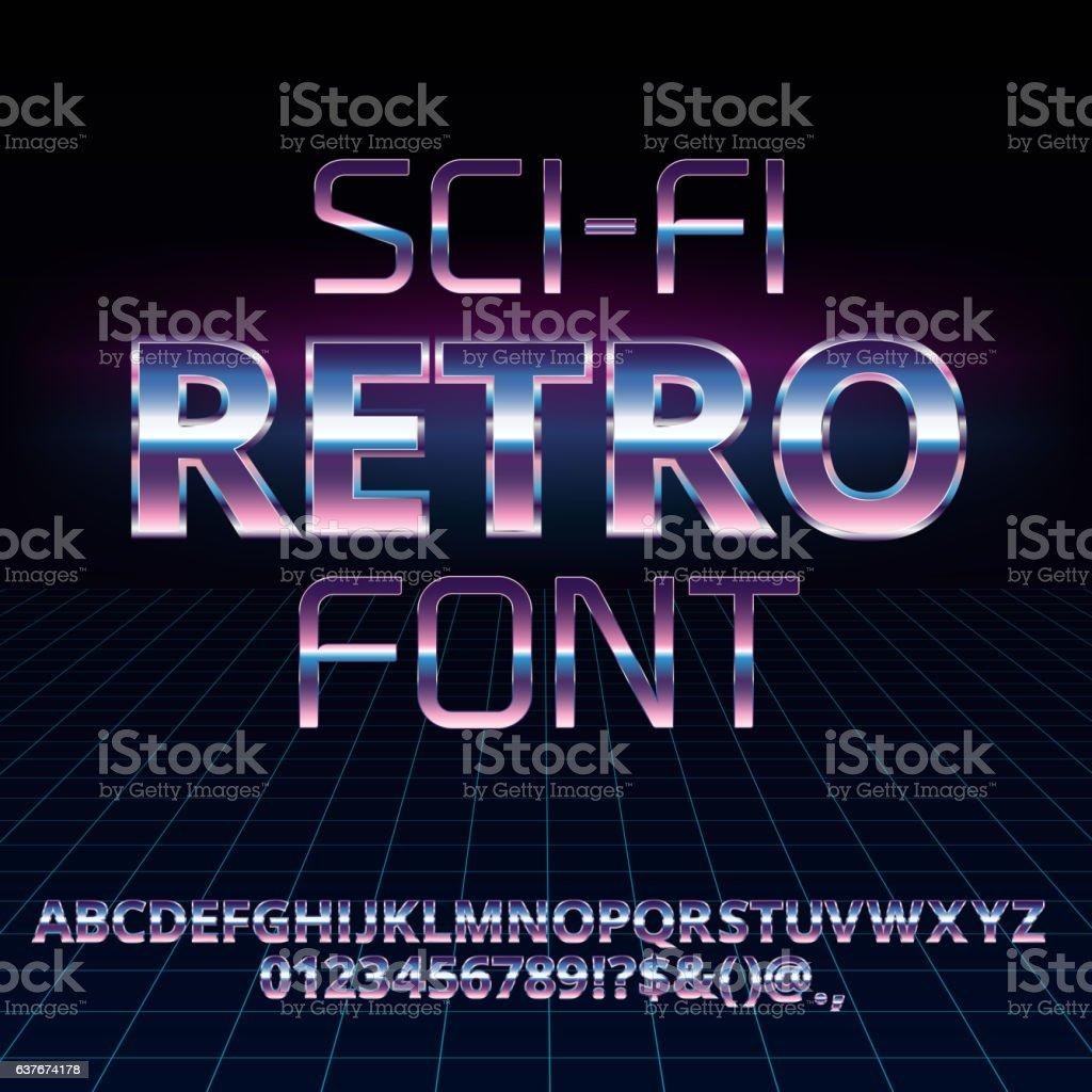 Sci-Fi retro font vector art illustration