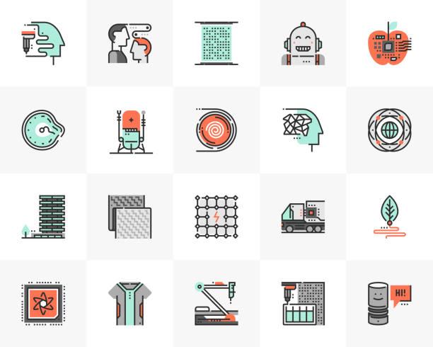 ilustraciones, imágenes clip art, dibujos animados e iconos de stock de sci-fi technology futuro siguiente iconos pack - aparición conceptos