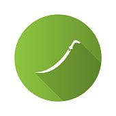 Scimitar sword flat design vector icon. Sabre. Muslim weapon