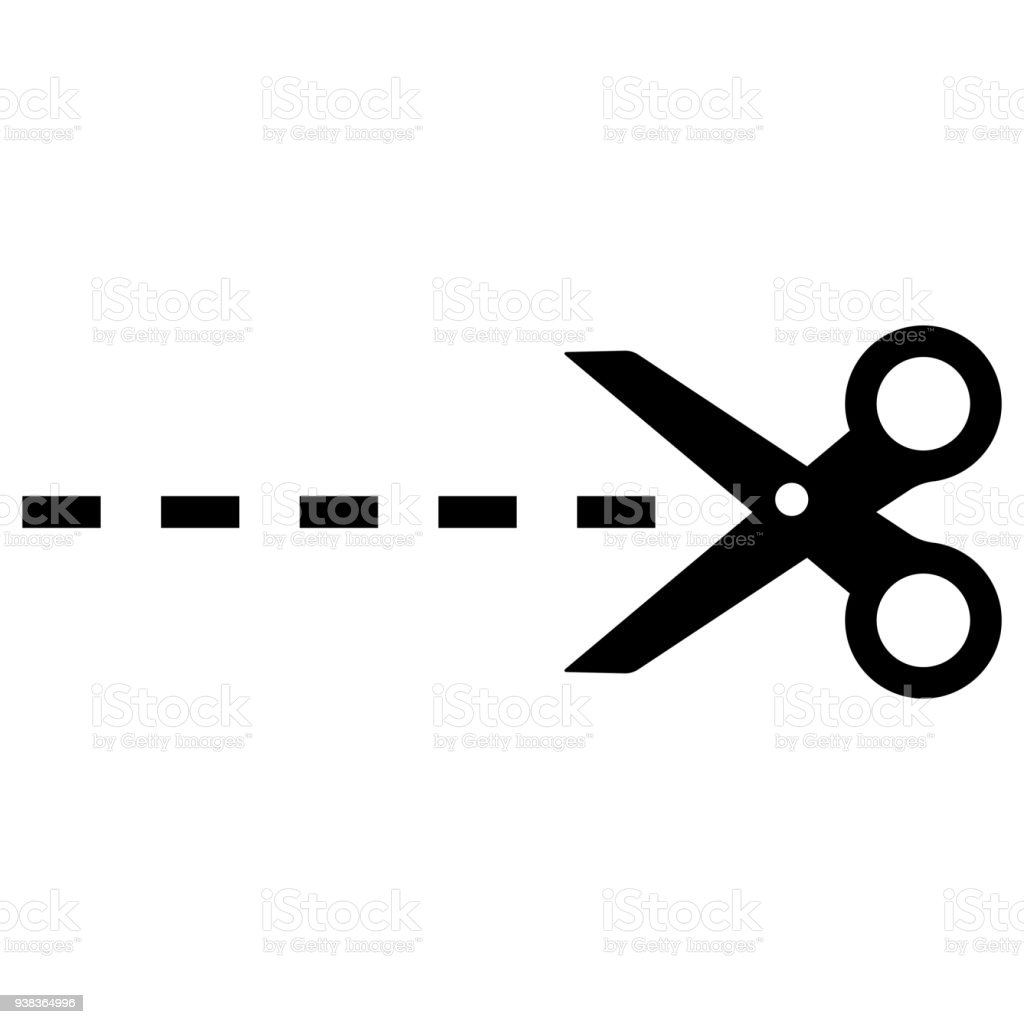 Scissor Cut Linecut Here Symbol Isolated Vector Stock Vector Art