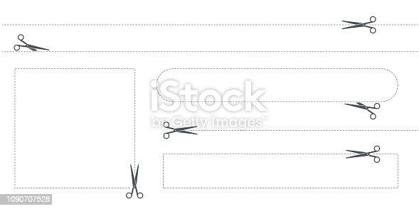 Scissor, cut line,cut here symbol,vector illustration. EPS 10.