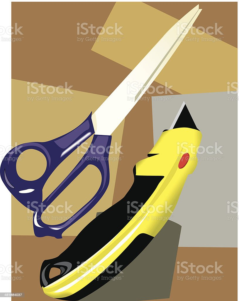 scissor with paper cutter royalty-free stock vector art
