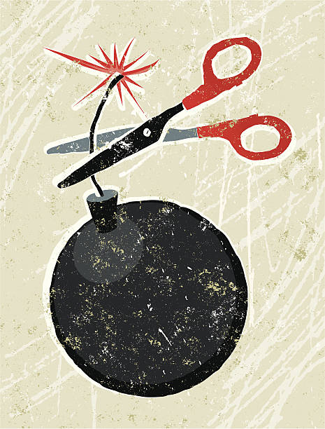 Scissors and Bomb In the nick of time!! A stylized vector cartoon of a pair of scissors cutting a wick attached to a bomb, reminiscent of an old screen print poster and suggesting time running out, deadlines, emergency, success, proactivity, or challenge. Scissors, bomb, paper texture, and background are on different layers for easy editing. Please note: clipping paths have been used, an eps version is included without the path. explosive fuse stock illustrations
