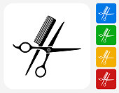 Scissors and Brush Icon. This 100% royalty free vector illustration features the main icon pictured in black inside a white square. The alternative color options in blue, green, yellow and red are on the right of the icon and are arranged in a vertical column.