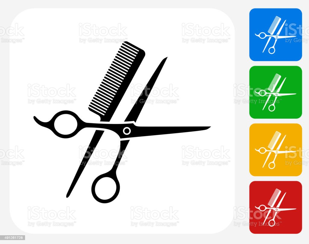 Scissors and Brush Icon Flat Graphic Design vector art illustration