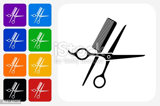 Scissors and Brush Icon Square Button Set. The icon is in black on a white square with rounded corners. The are eight alternative button options on the left in purple, blue, navy, green, orange, yellow, black and red colors. The icon is in white against these vibrant backgrounds. The illustration is flat and will work well both online and in print.