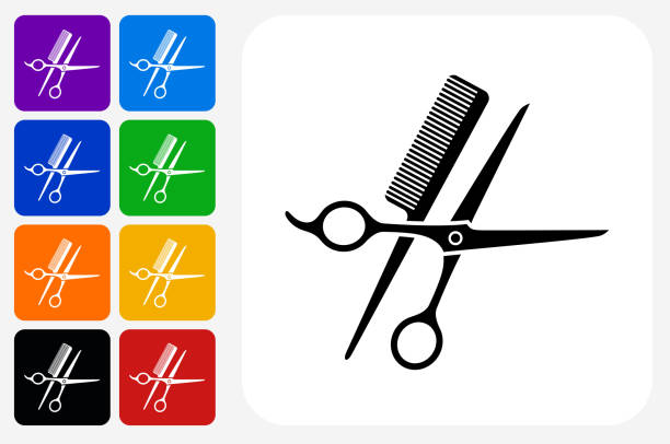 Scissors and Brush Icon Square Button Set Scissors and Brush Icon Square Button Set. The icon is in black on a white square with rounded corners. The are eight alternative button options on the left in purple, blue, navy, green, orange, yellow, black and red colors. The icon is in white against these vibrant backgrounds. The illustration is flat and will work well both online and in print. scissors stock illustrations