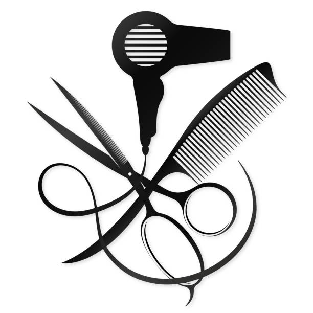 scissors and comb design for a beauty salon - hairdresser stock illustrations