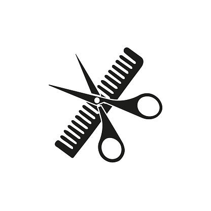 Scissors and comb icon isolated on white background