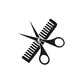 istock Scissors and comb icon isolated on white background 1202387135
