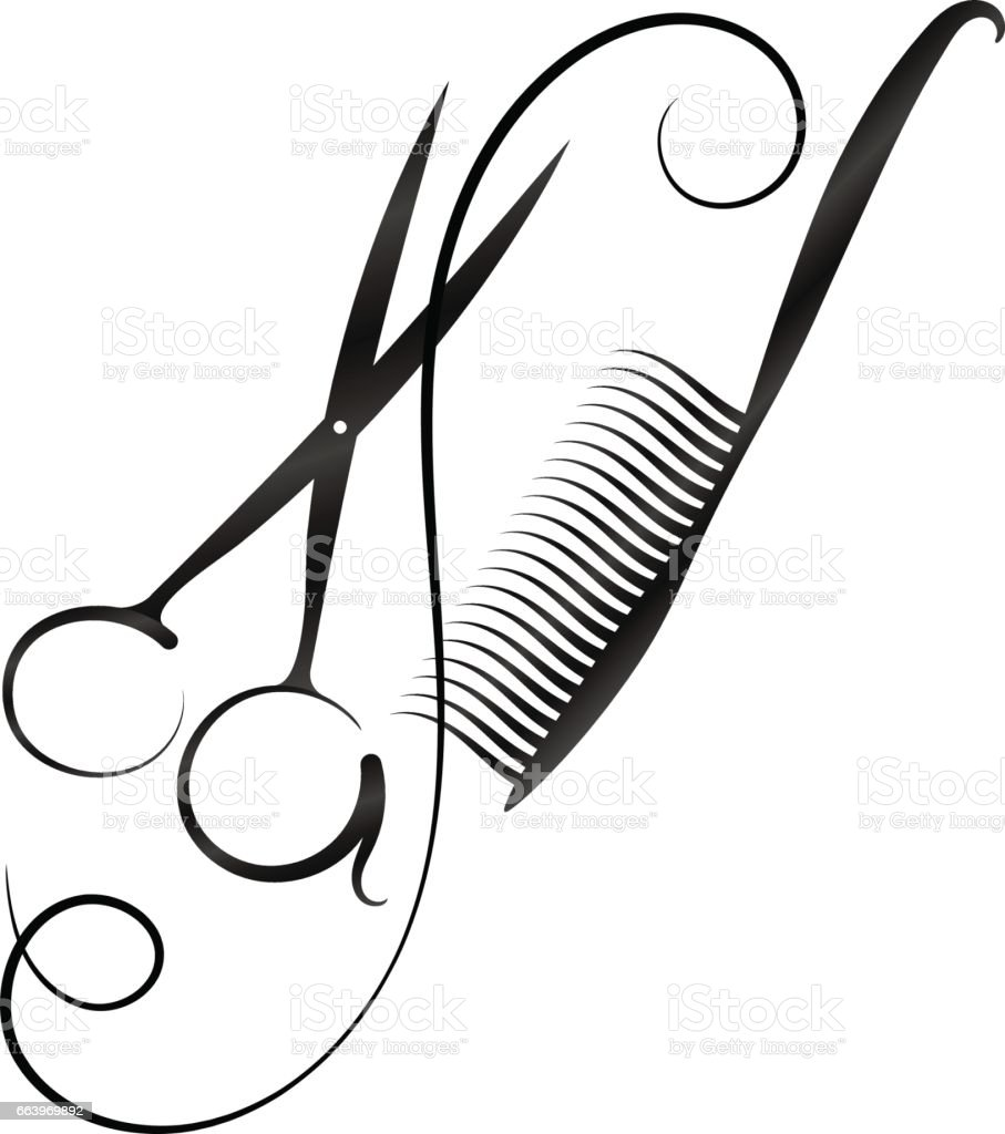 Scissors And Comb Silhouette Stock Vector Art Amp More