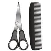scissors and comb, vector illustration
