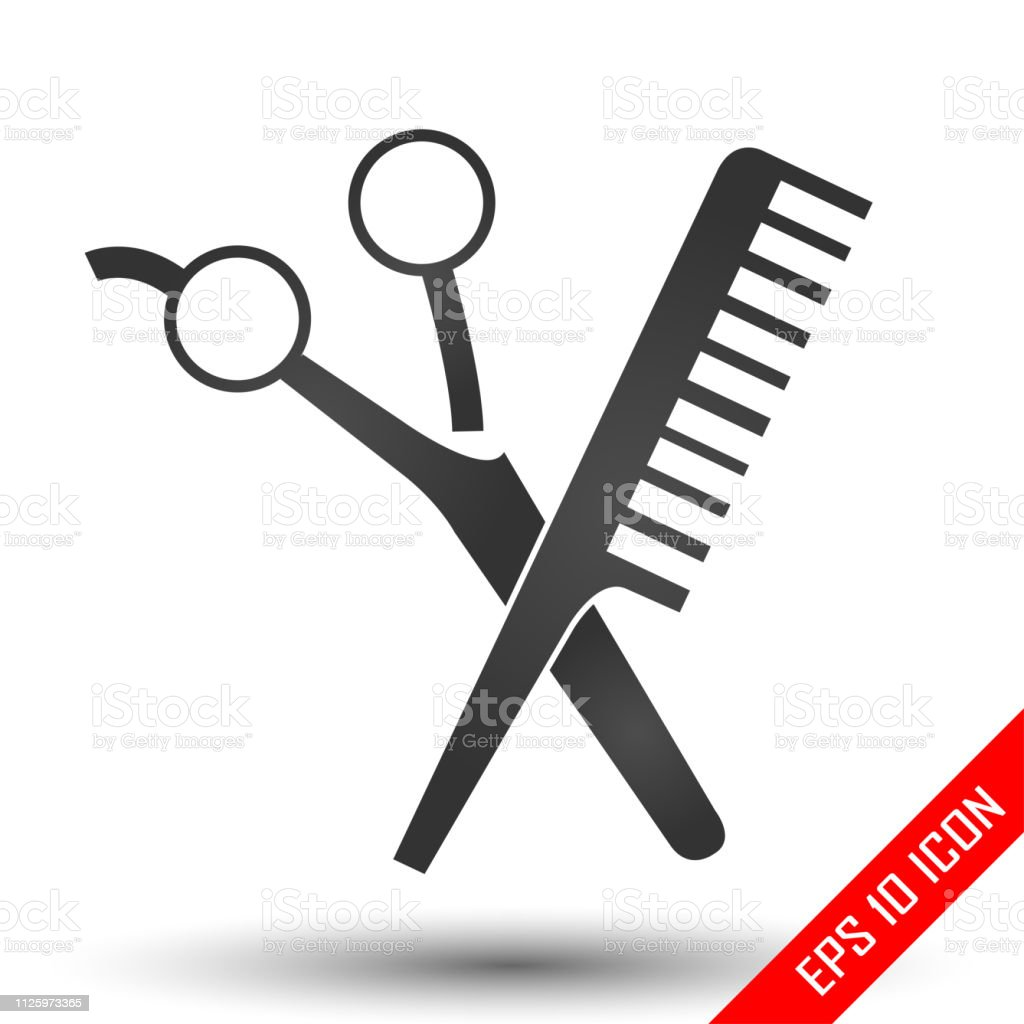 Tesoura e ícones de comp. Ícone de barbearia. Salão de cabeleireiro. imagens. Ícone de barbearia plana. Formas de tesoura e pente isolado no fundo branco. Ilustração em vetor. - ilustração de arte em vetor