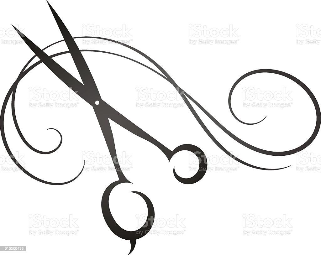 Scissors and hair sign for beauty salon - ilustração de arte em vetor