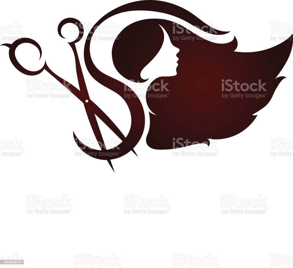 Scissors and profile of a girl beauty salon vector art illustration
