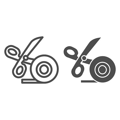 Scissors and scotch tape line and solid icon, stationery concept, cutting adhesive tape sign on white background, sticky tape with scissors symbol in outline style for mobile and web. Vector graphics.
