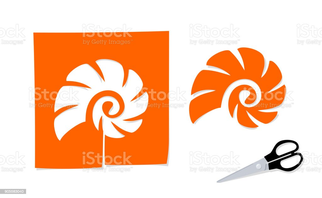 Scissors and the silhouette of cockle shell cut out from paper vector art illustration