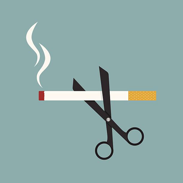 scissors cut a cigarettes vector art illustration