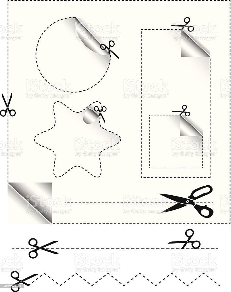 Scissors Cut Stickers royalty-free stock vector art