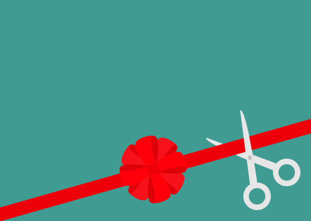 Scissors cut straight red ribbon on the right. Big round bow. Business beginnings event. Launch startup concept. Grand opening celebration sign symbol. Flat design. Green background. Isolated. vector art illustration