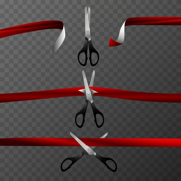 剪刀剪了紅色的帶子。設計項目。向量藝術插圖