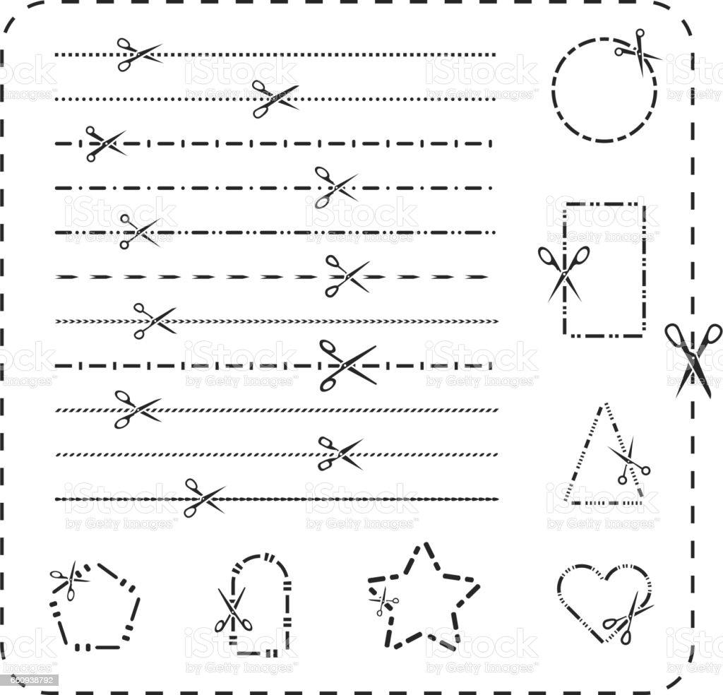 Schere Ausschnitt Linie Symbole Vektorgestrichelten Und Gepunkteten ...