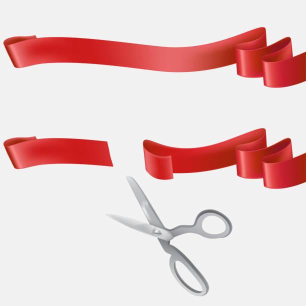 scissors cutting blue ribbon realistic vector - grand opening stock illustrations, clip art, cartoons, & icons