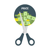 Scissors cutting money bills, vector illustration in flat style. Price, cost reduction or cut price icon concept.