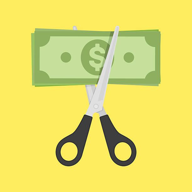 schere schneiden geld rechnung. - geschäftliche aktivitäten stock-grafiken, -clipart, -cartoons und -symbole