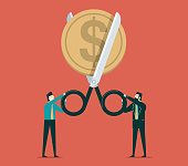 Scissors cutting coin in half, cost reduction or cut price concept. Vector illustration
