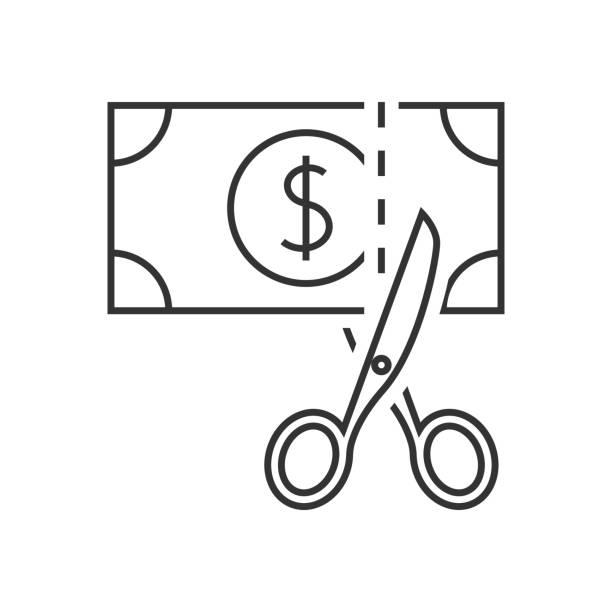 stockillustraties, clipart, cartoons en iconen met schaar snijden geld pictogram - snavel