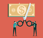 Scissors cutting money bill in half, cost reduction or cut price concept. Vector illustration