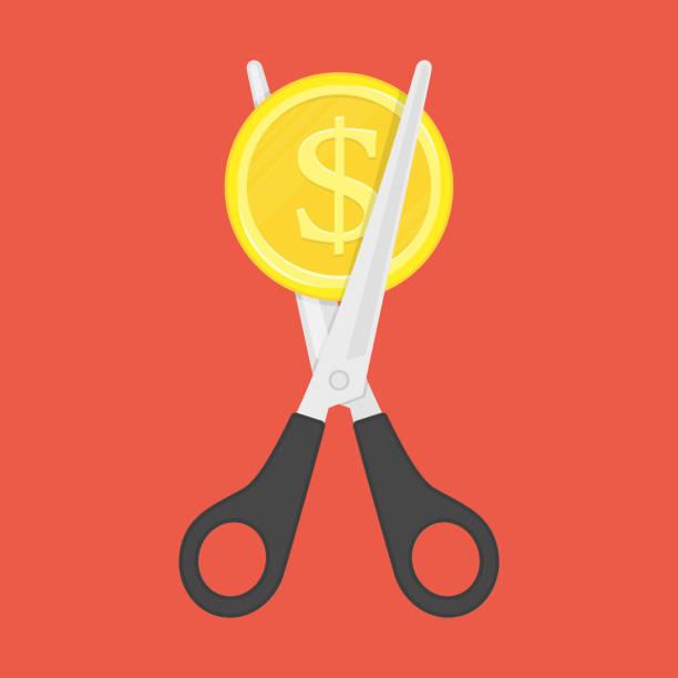 Ciseaux coupe argent. - Illustration vectorielle