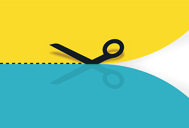 nożyczki cięcia papieru - ciąć stock illustrations