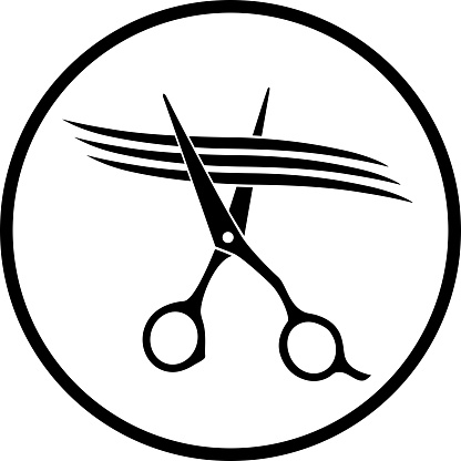 scissors cutting strand of hair