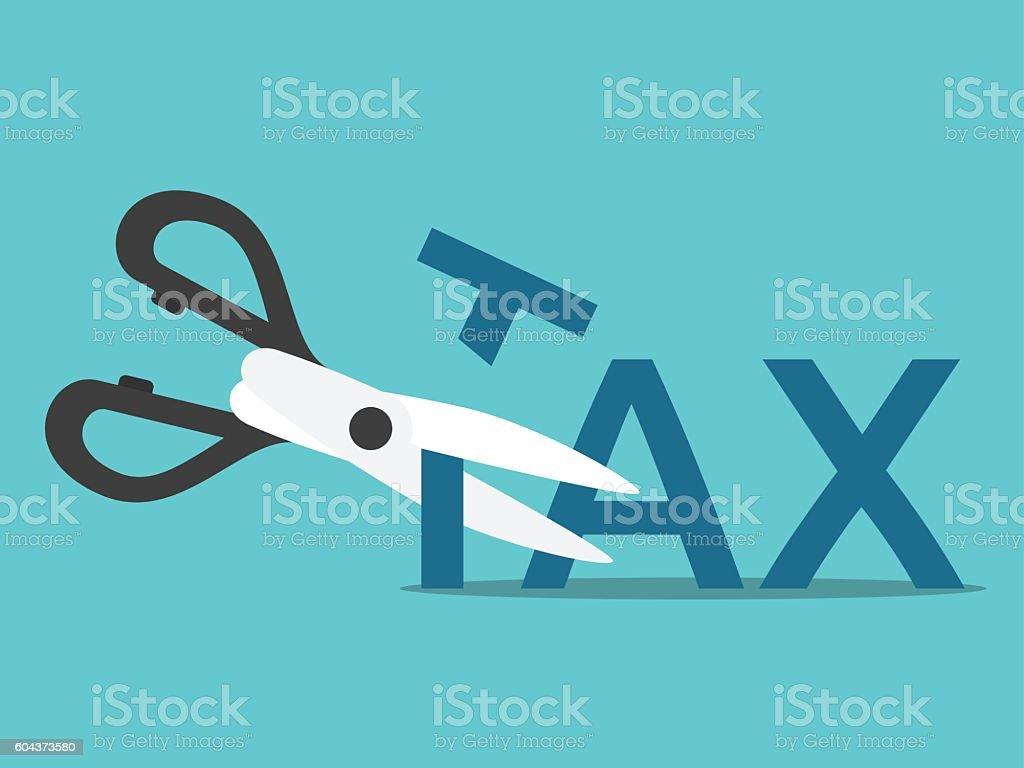 Scissors cutting tax – Vektorgrafik