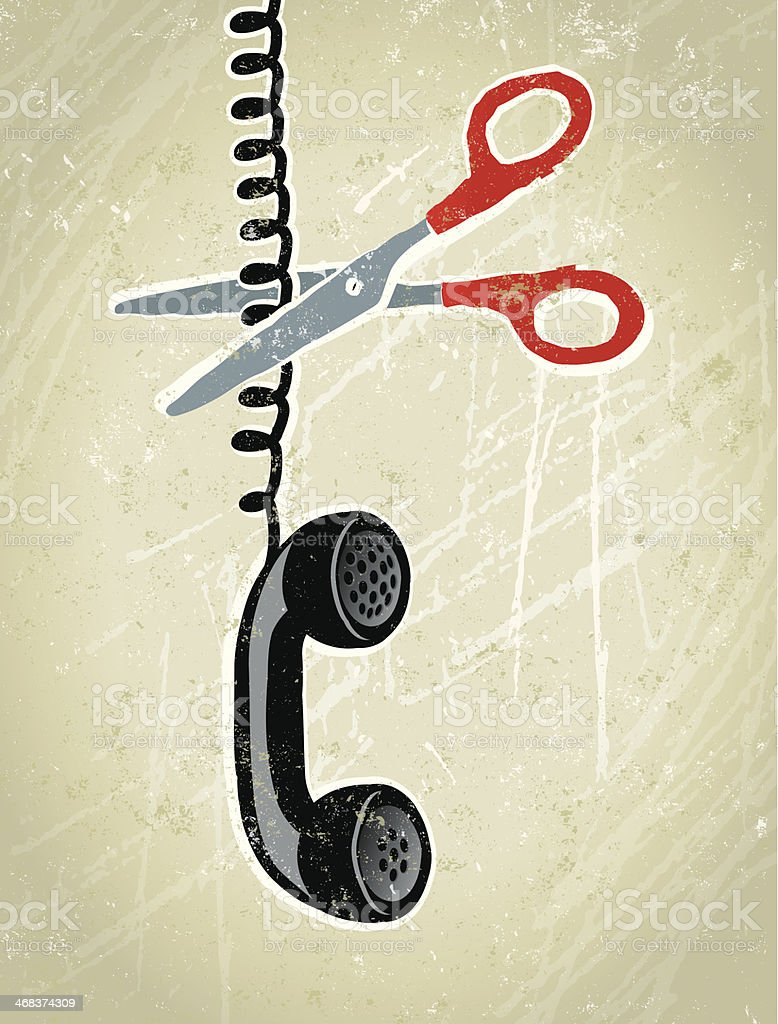 Scissors Cutting Through The Wire of a Retro Telephone royalty-free stock vector art