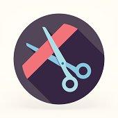 Flat & Long Shadow Scissors Icon