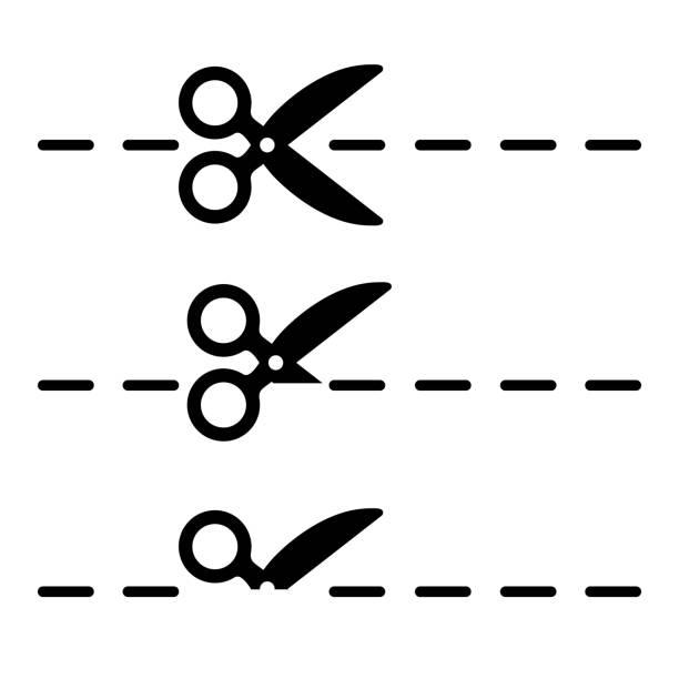 illustrazioni stock, clip art, cartoni animati e icone di tendenza di scissors icon set, coupon border sign - stock vector - tailor working