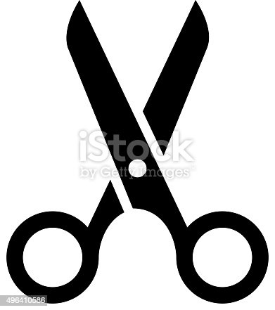 Black scissors icon isolated on white