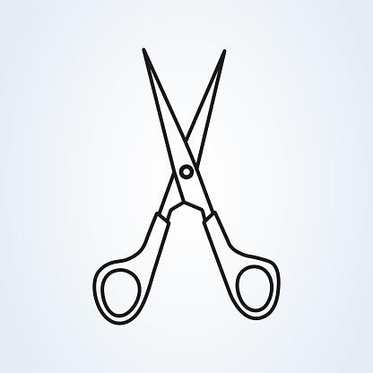 Scissors icon vector illustration line art. Cut concept with open scissors.