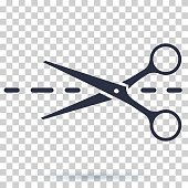 Scissors icon with cut line. Scissor vector illustration. Cut icon for clothes.
